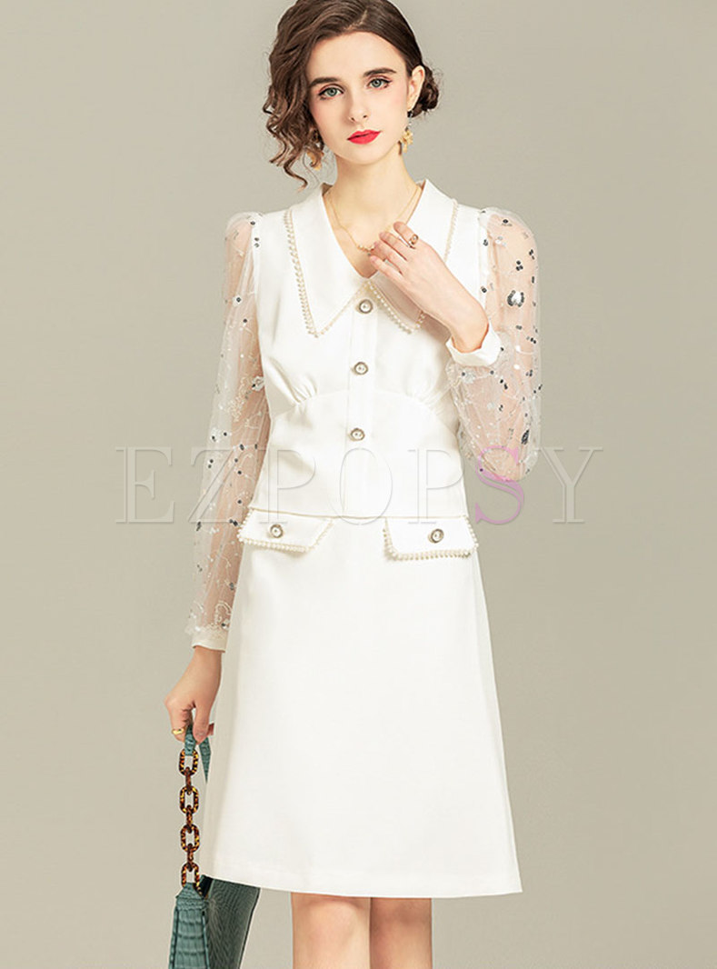 Lapel Sequin Mesh Patchwork Skirt Suits