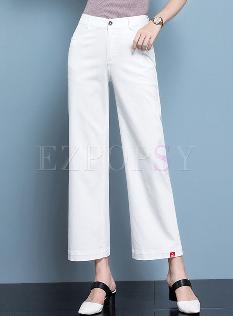 White High Waisted Denim Wide Lag Pants