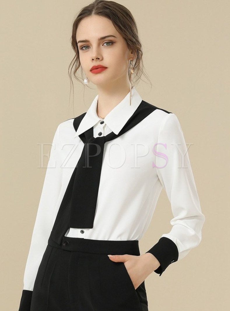 White Turn Down Collar Chiffon Shirt