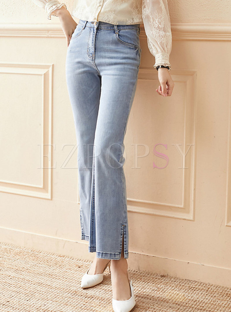 High Waisted Split Washed Denim Flare Pants