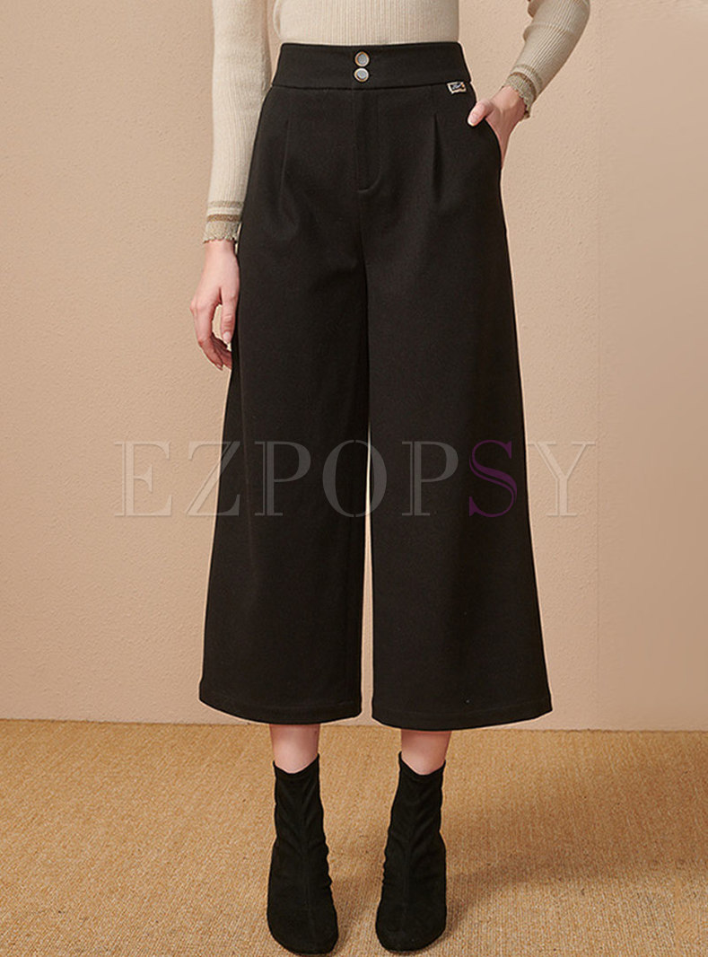 High Waisted Wide Leg Pants With Pockets
