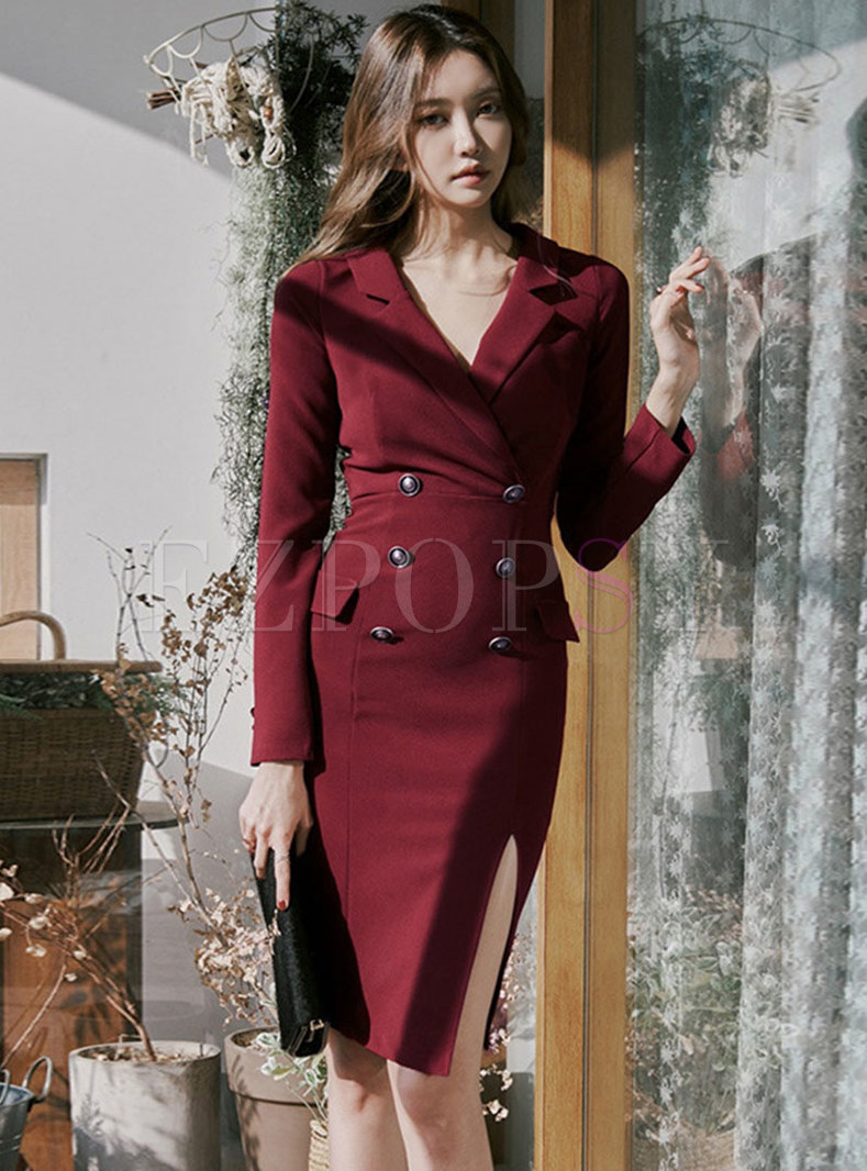 Notched Double-breasted Office Bodycon Dress