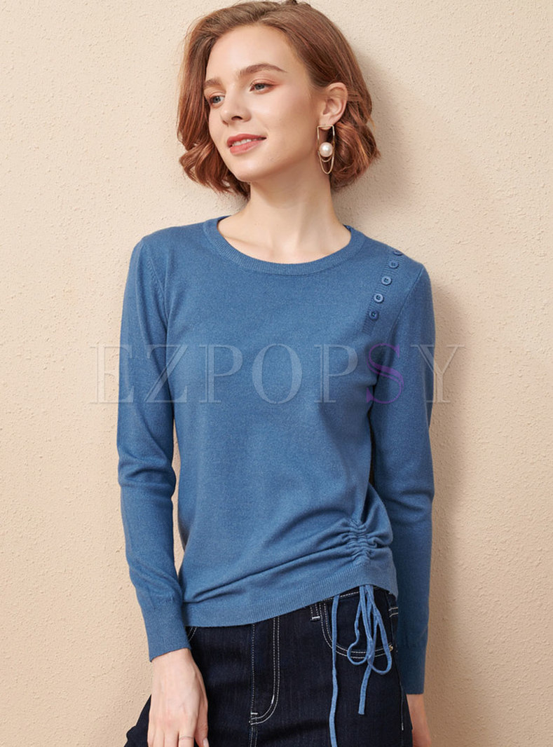 Crew Neck Drawstring Pullover Knit Top