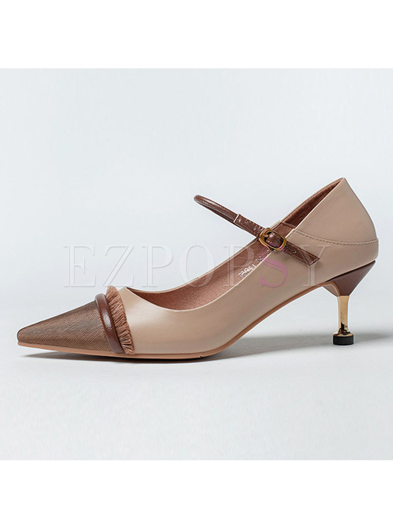Pointed Toe Patchwork Fringed Low-fronted Heels