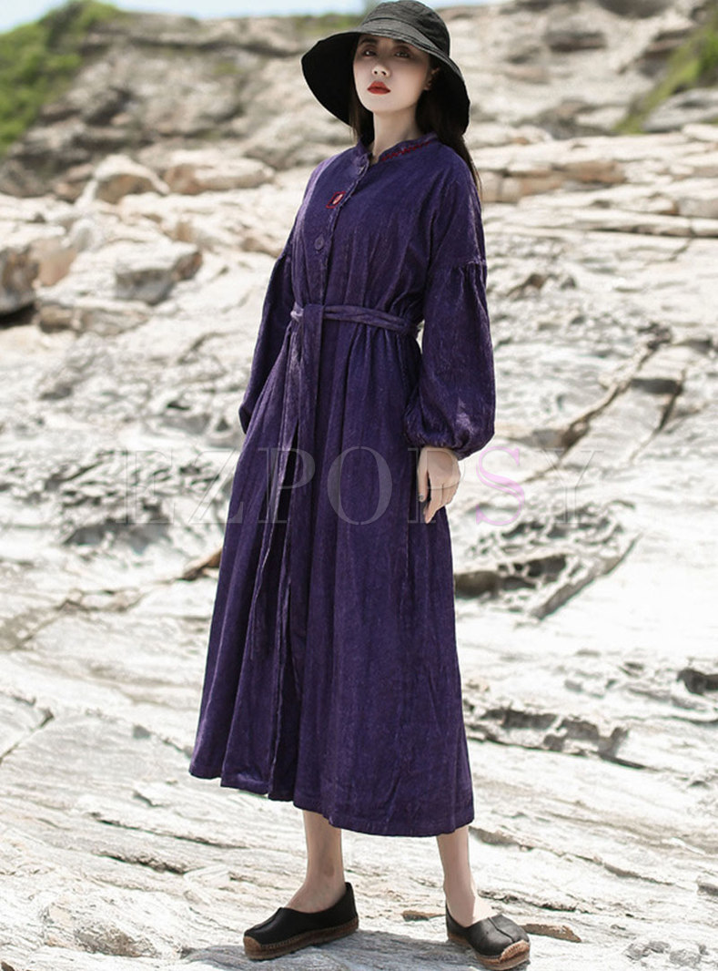 Retro Mock Neck Solid Color Corduroy Maxi Dress