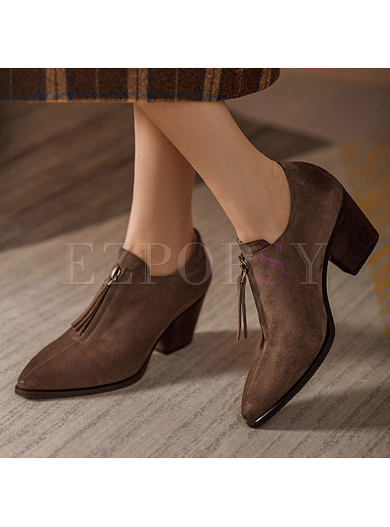 Pointed Toe Chunky Heel Zipper Front Shoes