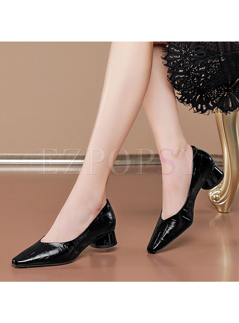 Patent Leather Low-fronted Block Heel Shoes