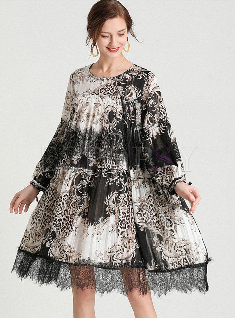 Plus Size Print Patchwork Lace Shift Dress