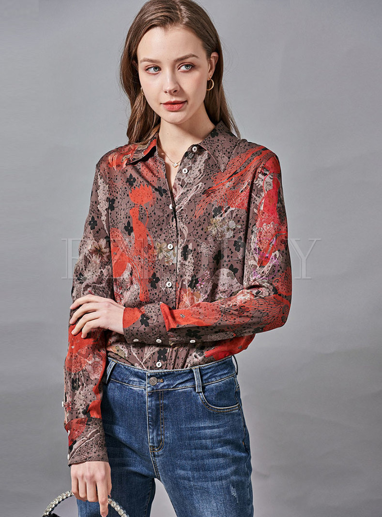 Print Single-breasted Silk Blouse