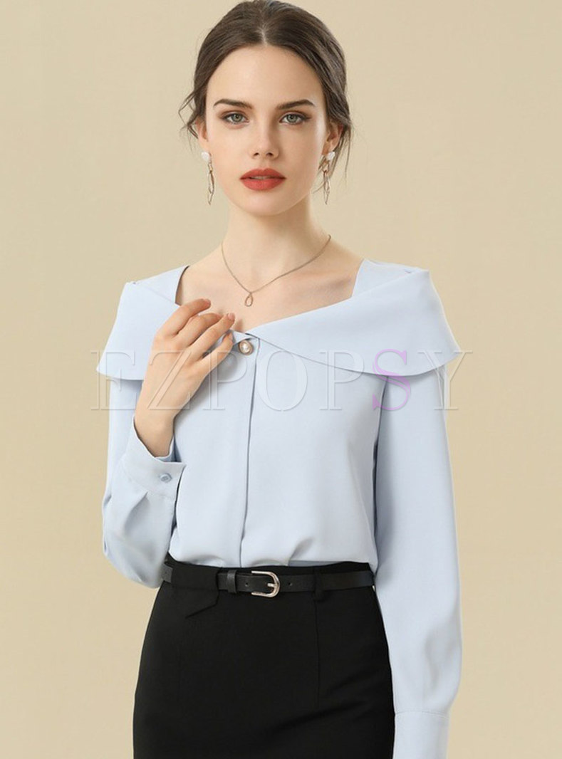 Off-the-shoulder Pullover Chiffon Blouse