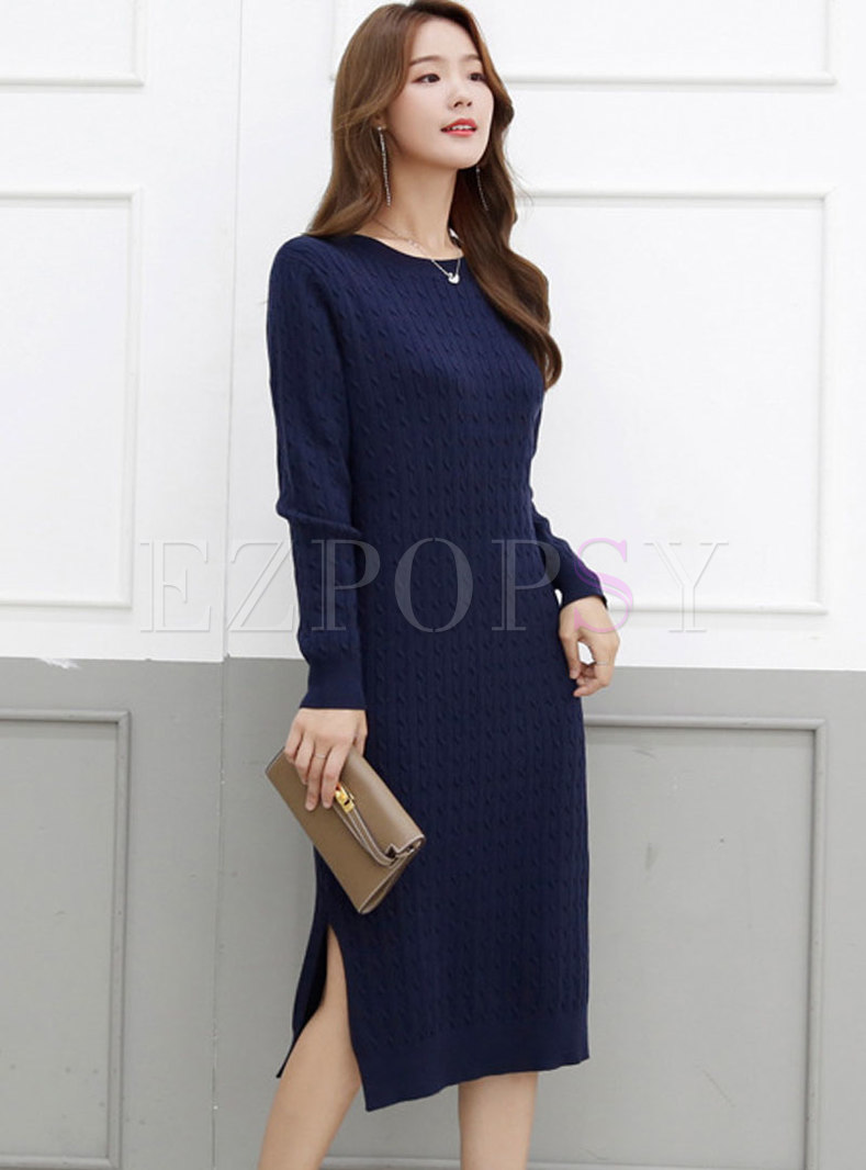 Crew Neck Split Cable-knit Knitted Dress