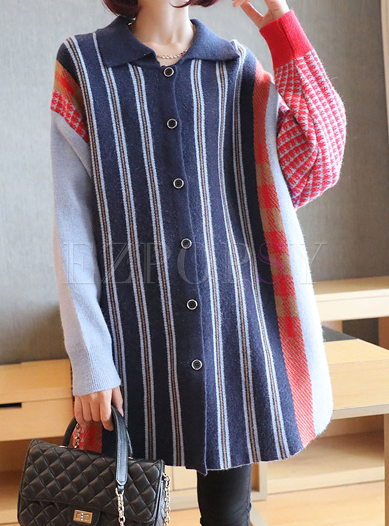 Turn Down Collar Striped Loose Cardigan