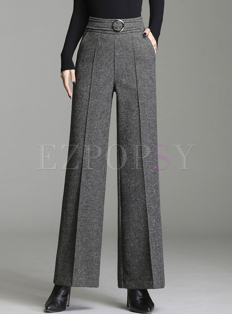 Brief High Waisted Long Wide Leg Pants