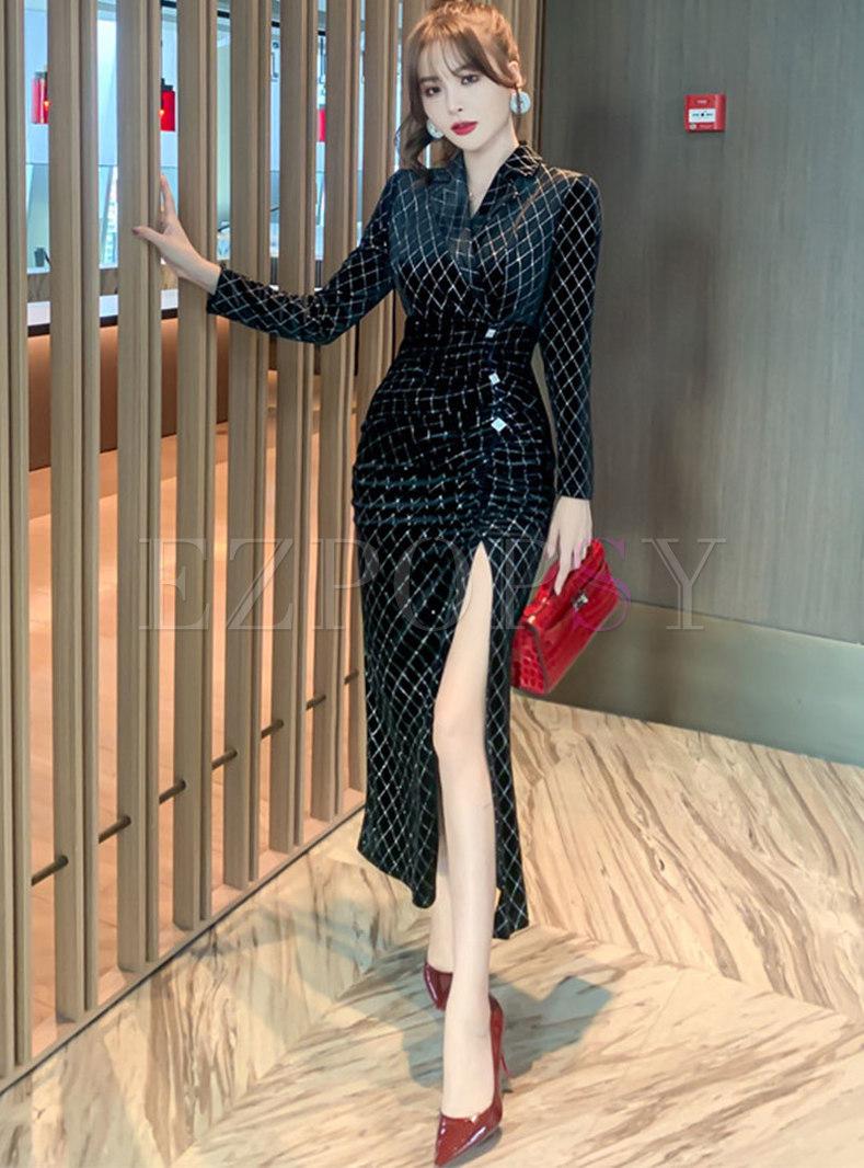 Lapel Diamond Velvet Bodycon Split Dress