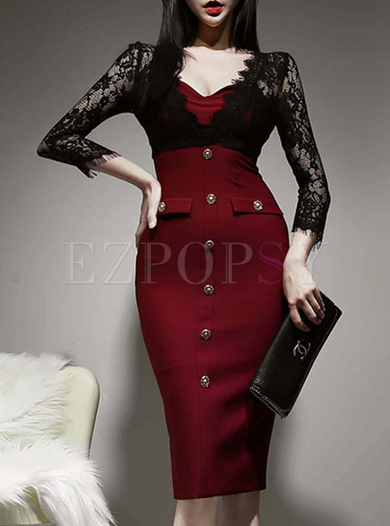 Openwork Lace Patchwork Bodycon Dress