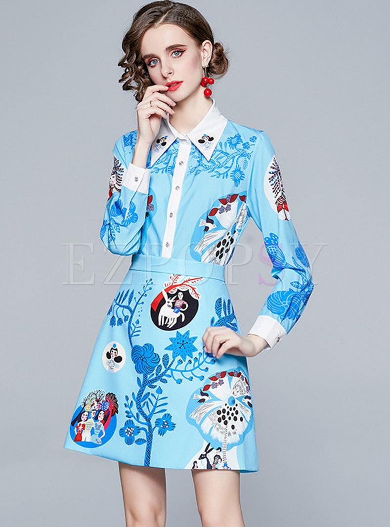 Lapel Print Color-blocked A Line Mini Skirt Suits