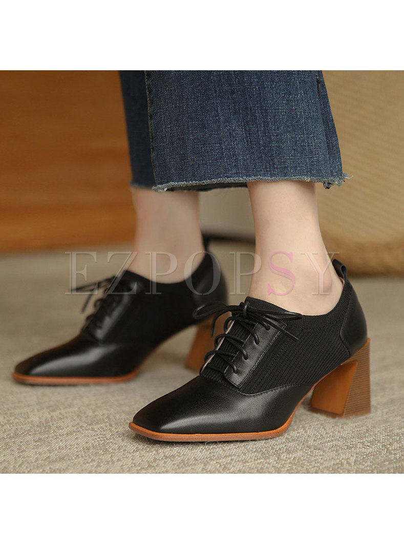Square Toe Lace-up Block Heel Shoes