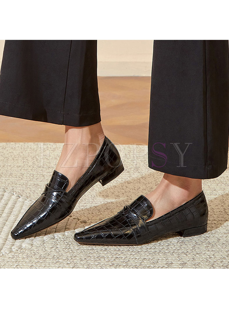 Solid Square Toe Low Block Heel Loafers