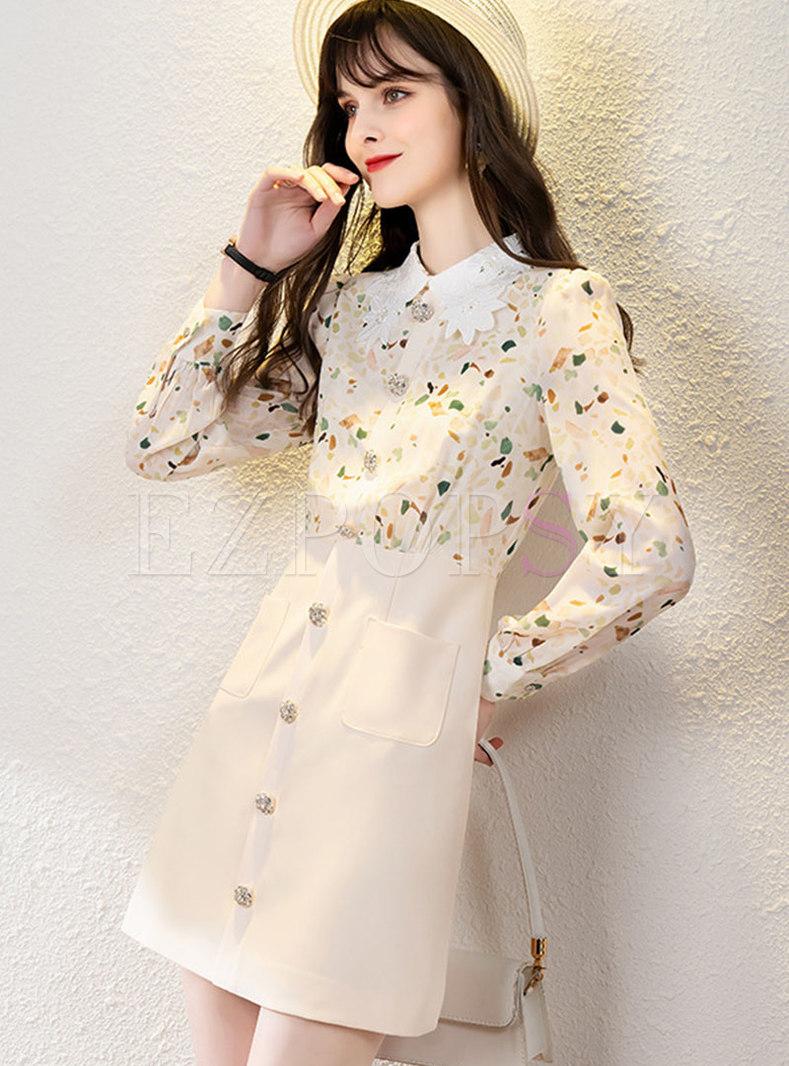 Lapel Print Rhinestone A Line Mini Dress