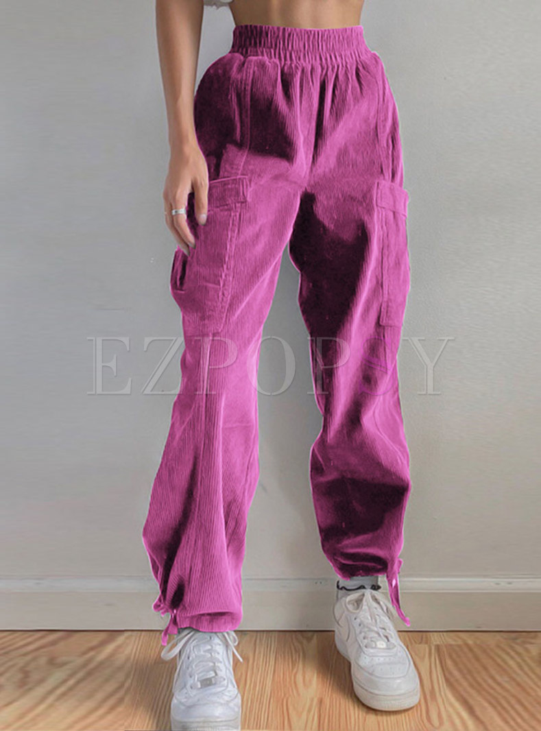 High Waisted Corduroy Ankle-tied Pants