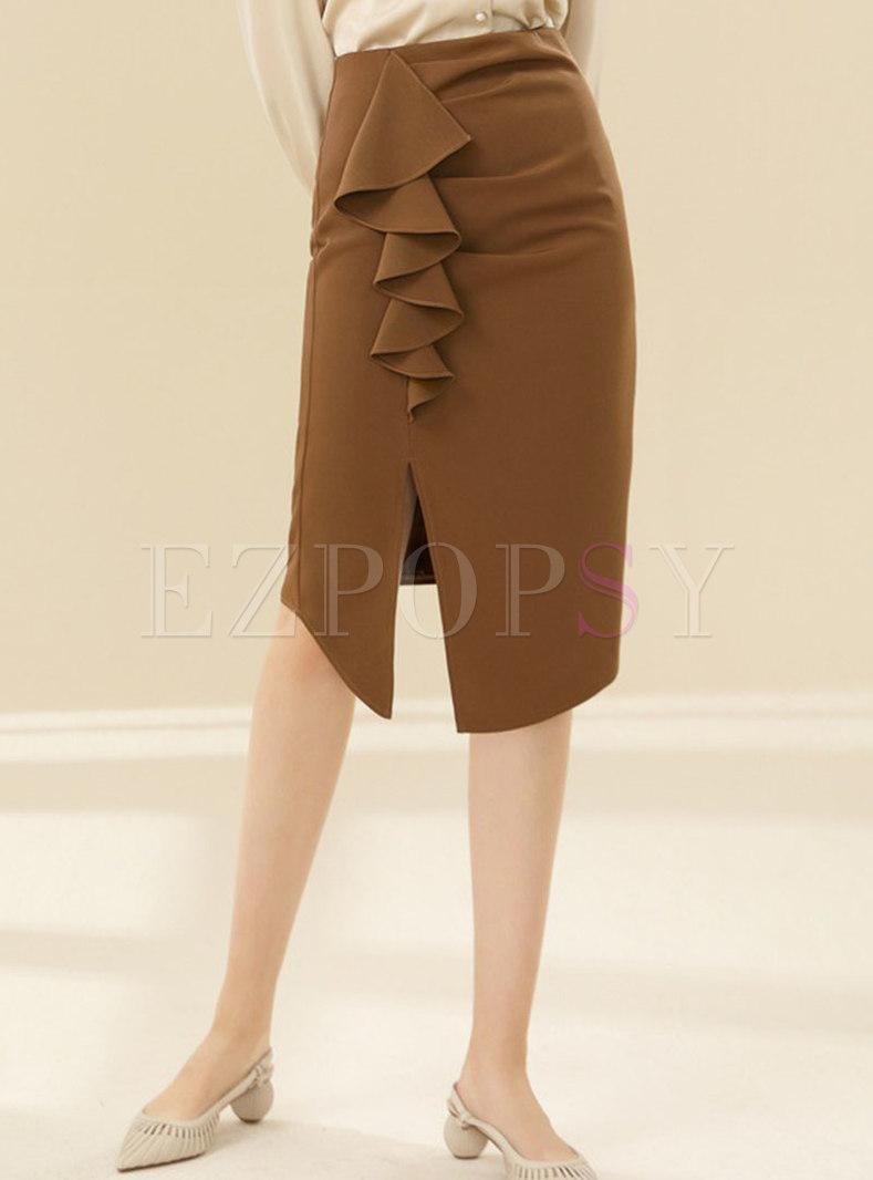 High Waisted Ruffle Split Sheath Skirt