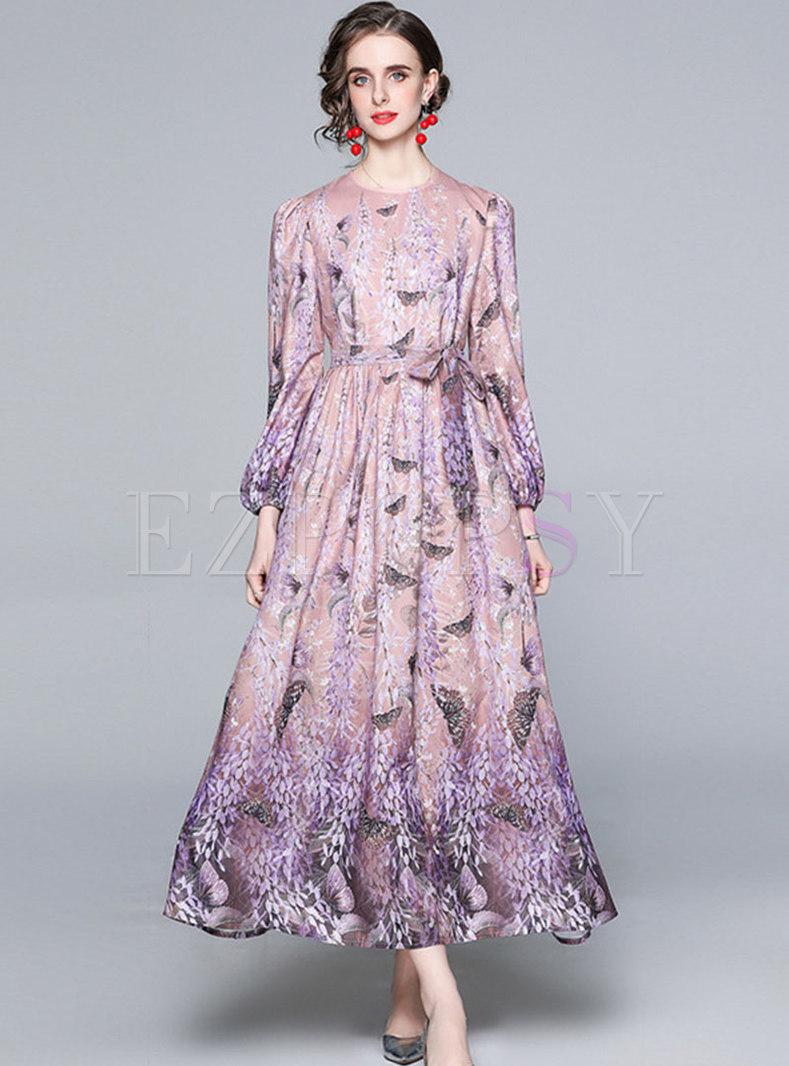 Lantern Sleeve Print Big Hem Maxi Dress