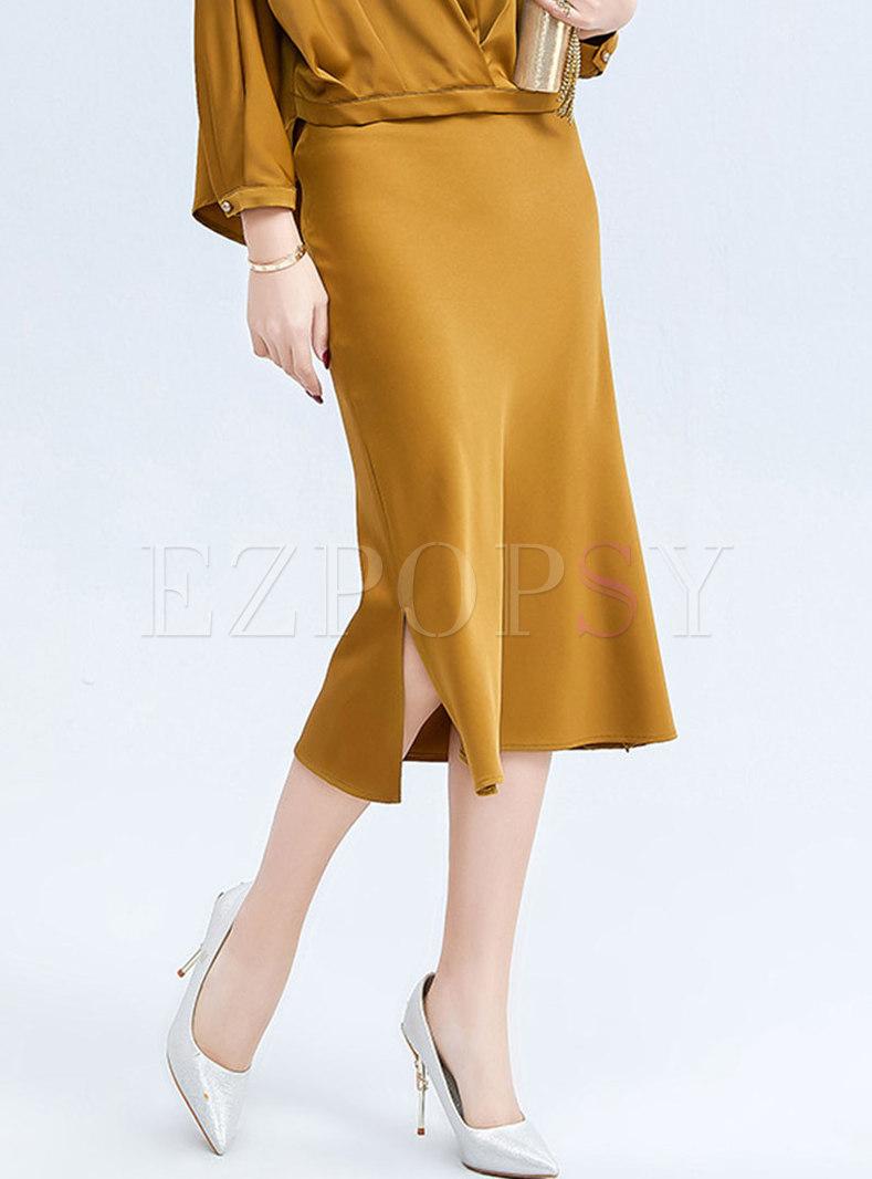 High Waisted Split Peplum Maxi Skirt