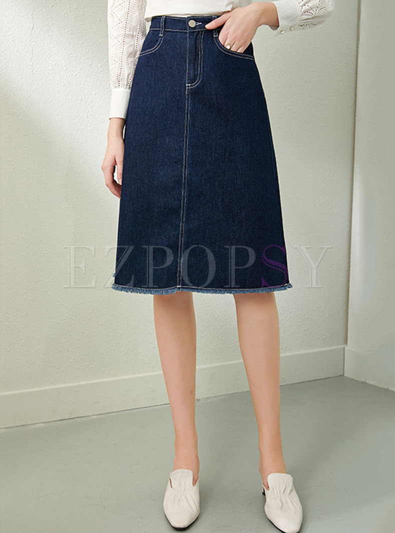 High Waisted A Line Knee-length Denim Skirt