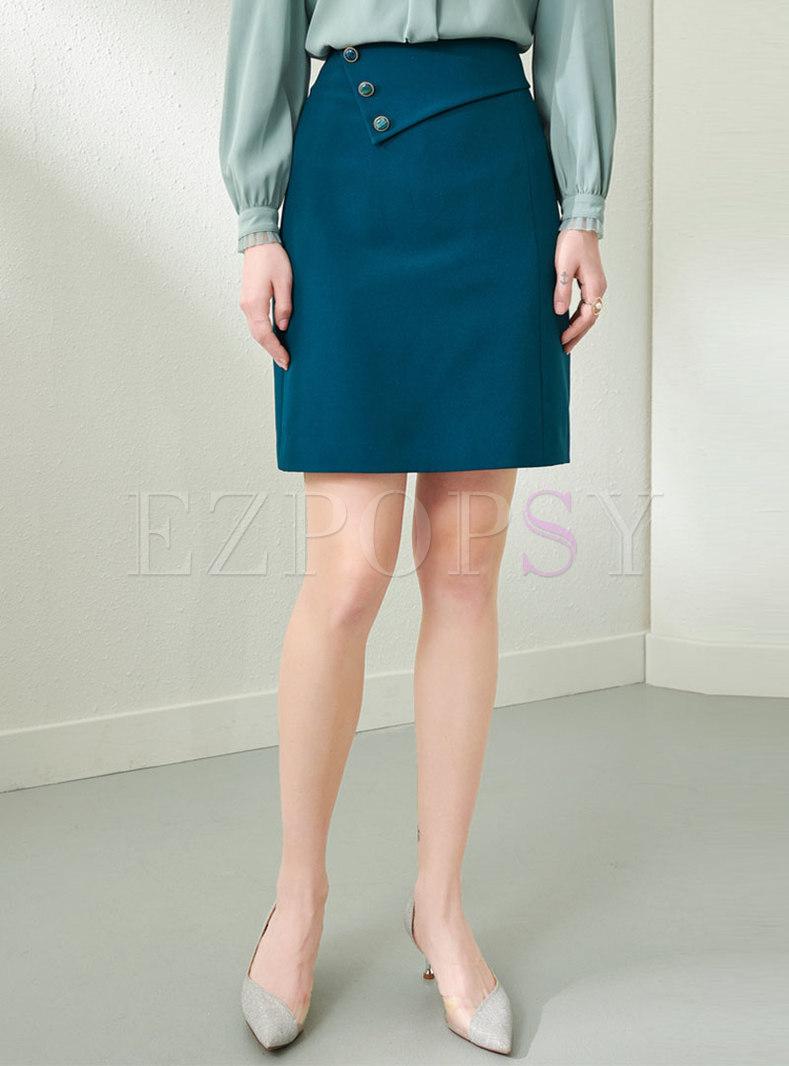 Solid High Waisted Mini Bodycon Skirt