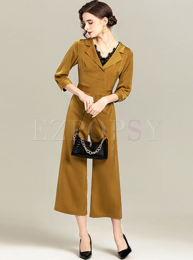 Solid Notched 3/4 Sleeve Wide Leg Jumpsuits