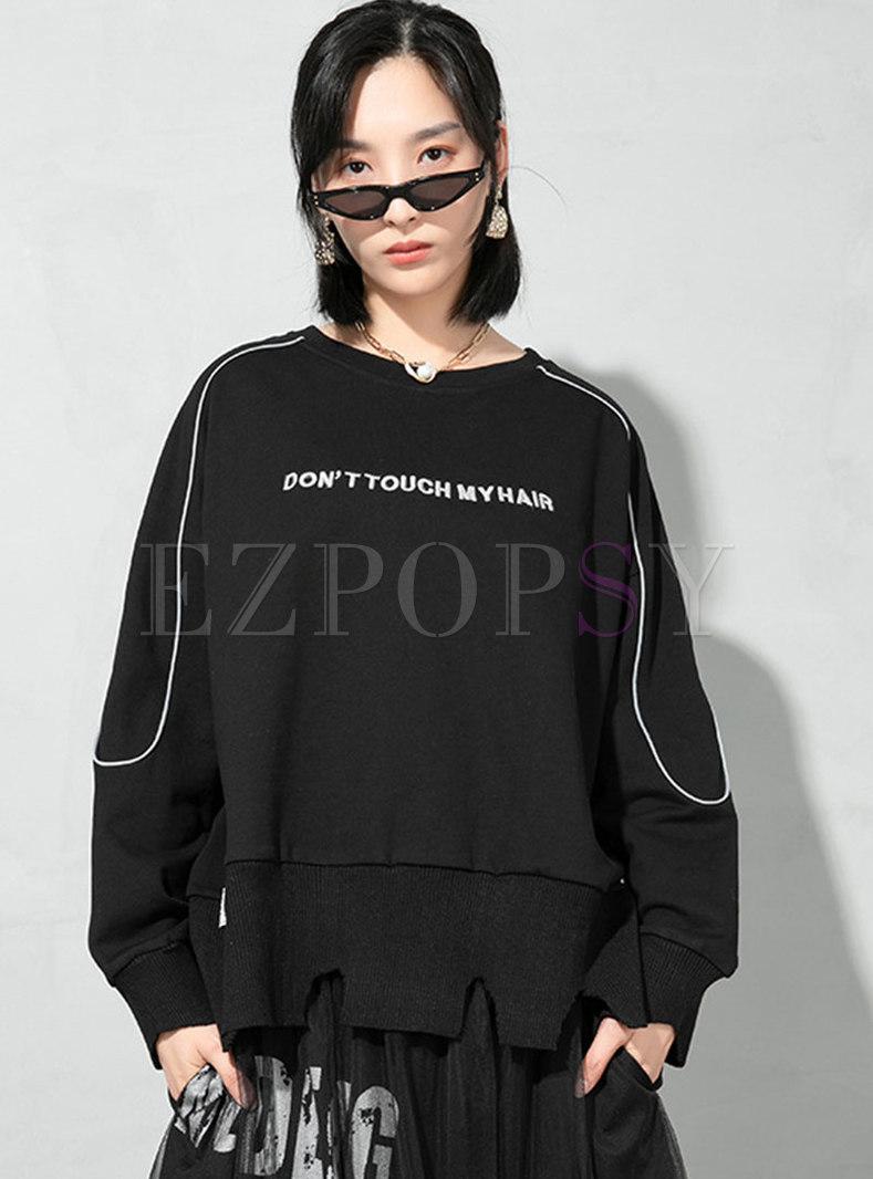 Plus Size Pullover Letter Print Sweatshirt