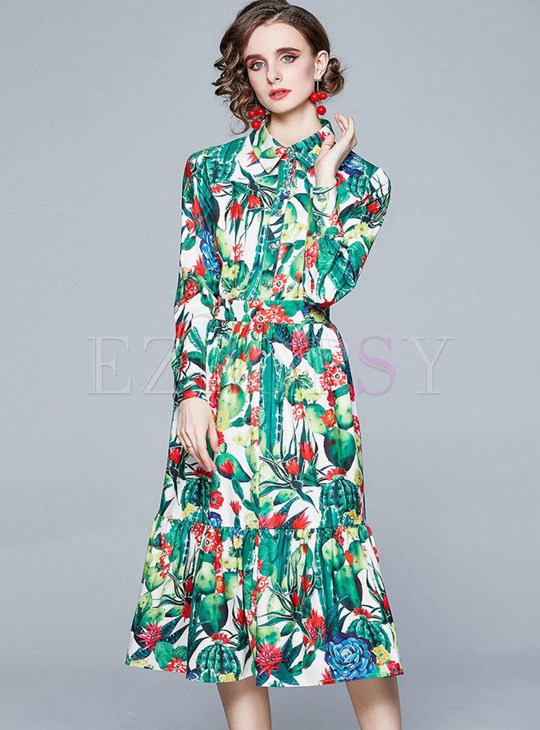 Lapel Long Sleeve Print Big Hem Midi Dress