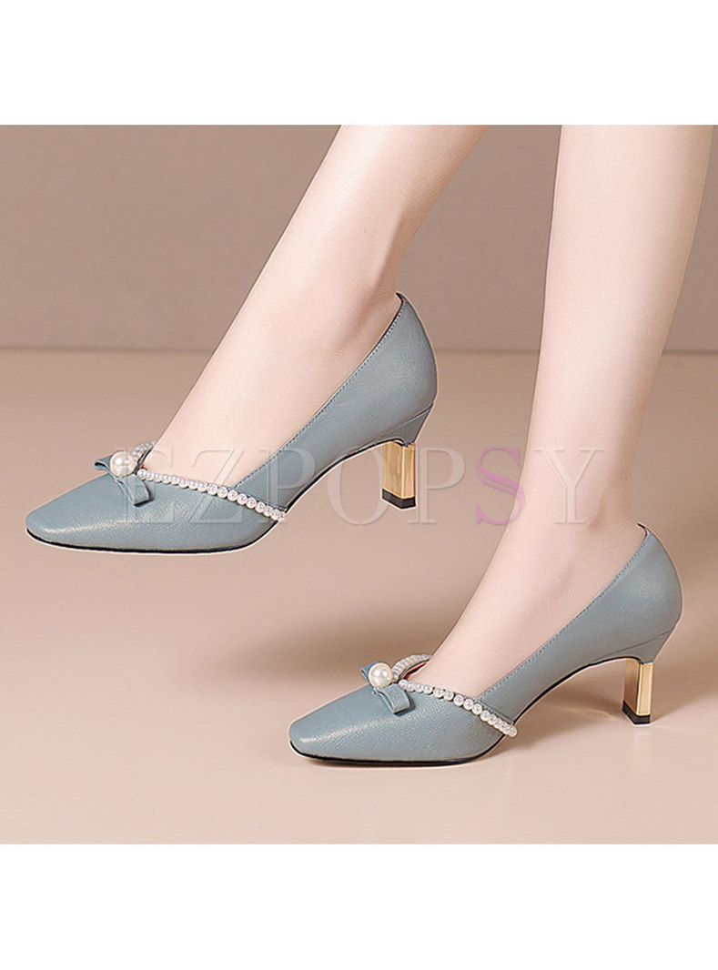 Square Toe Low-fronted Bowknot Heels