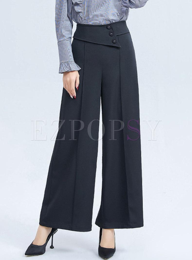 Black High Waisted Wide Leg Pants