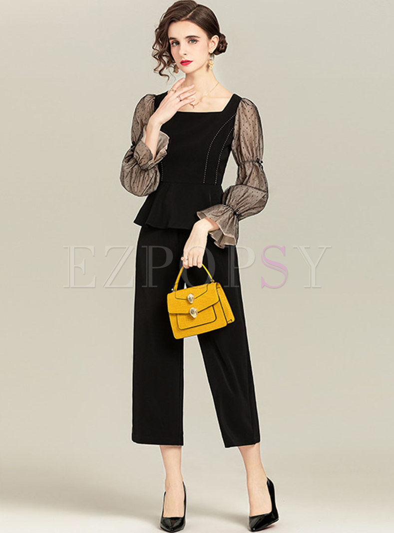 Puff Sleeve Polka Dot Straight Pant Suits