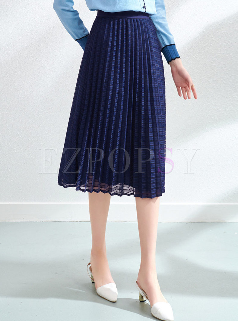 High Waisted A Line Mesh Midi Skirt