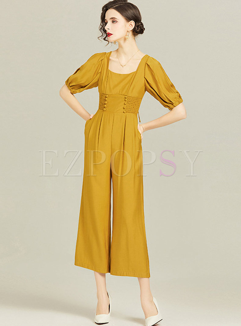 Square Neck High Waisted Ruched Wide Leg Jumpsuits