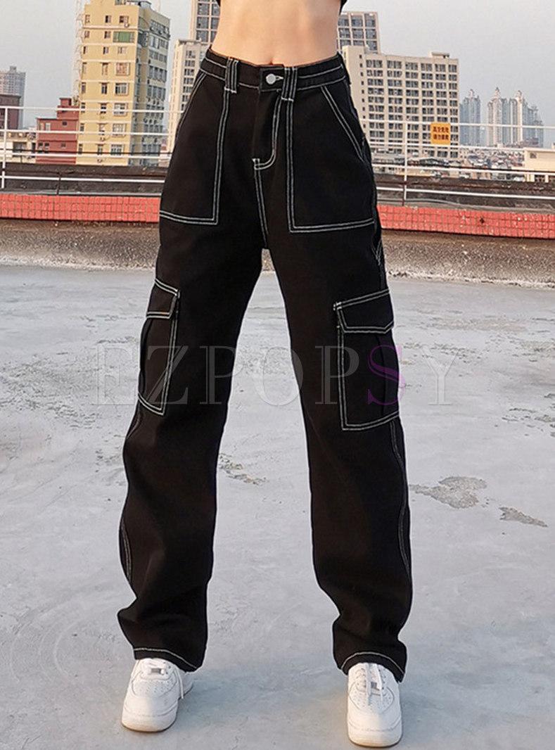 Black High Waisted Straight Denim Pants