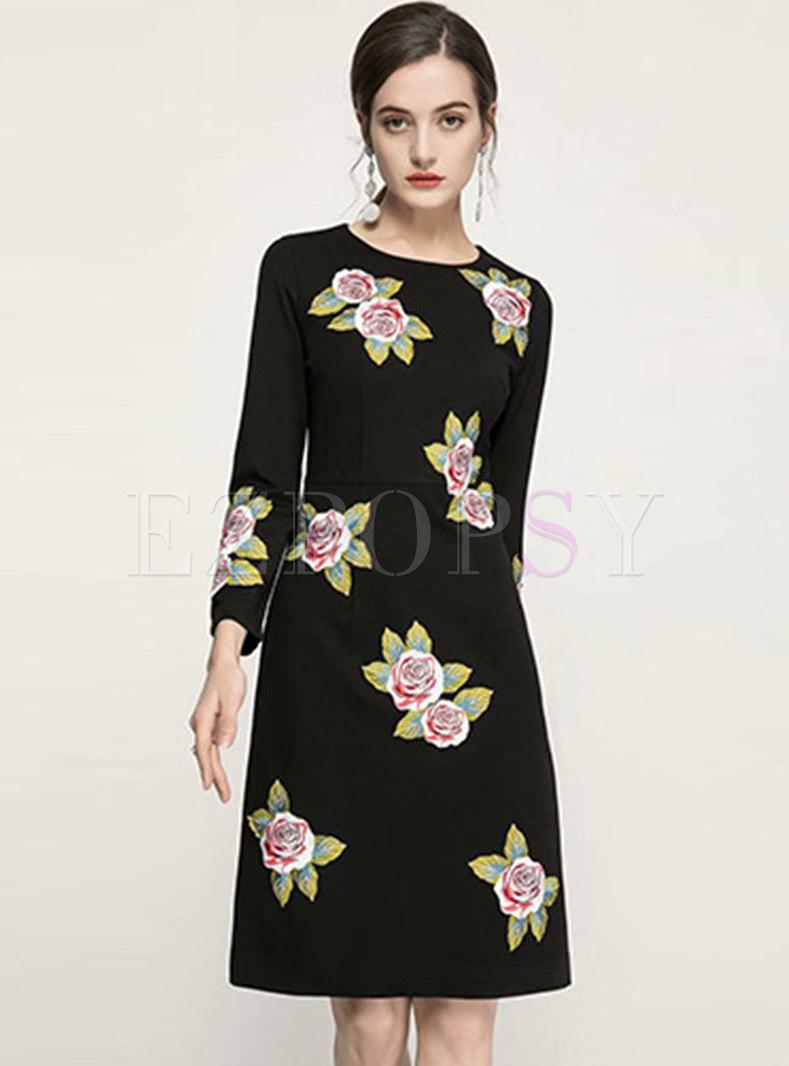 Black Long Sleeve Embroidered Skater Dress