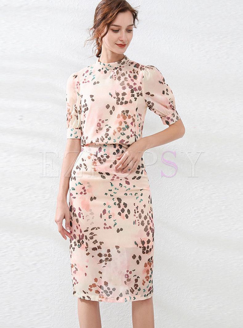 Mock Neck Leopard Bodycon Suit Dress