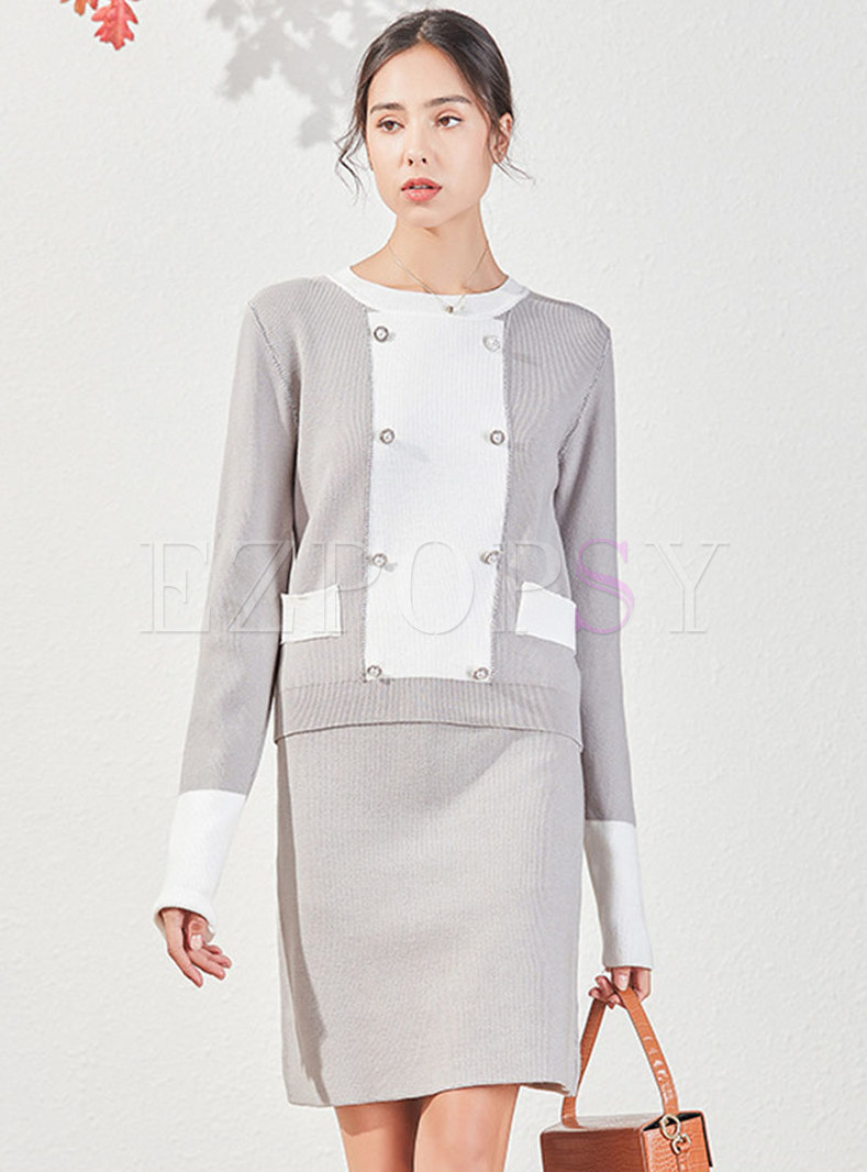 Color-blocked Pullover Knitted Straight Skirt Suits