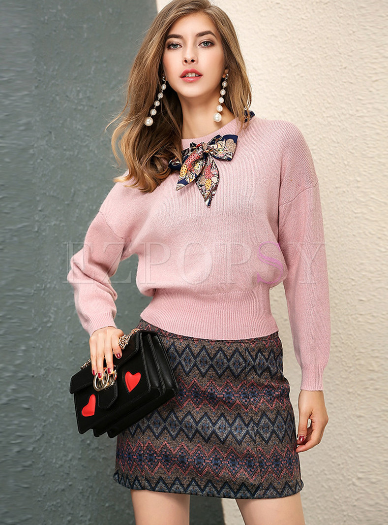 Pink O-neck Pullover Sweater & Print Mini Skirt
