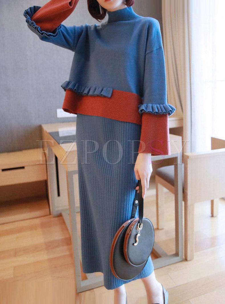 Patchwork Color-blocked Falbala Knit Suit Dress