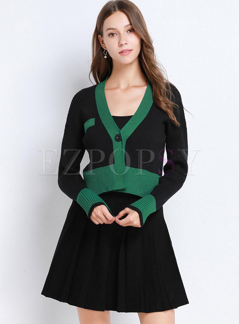 V-neck Color-blocked Cardigan & Pleated Mini Skirt