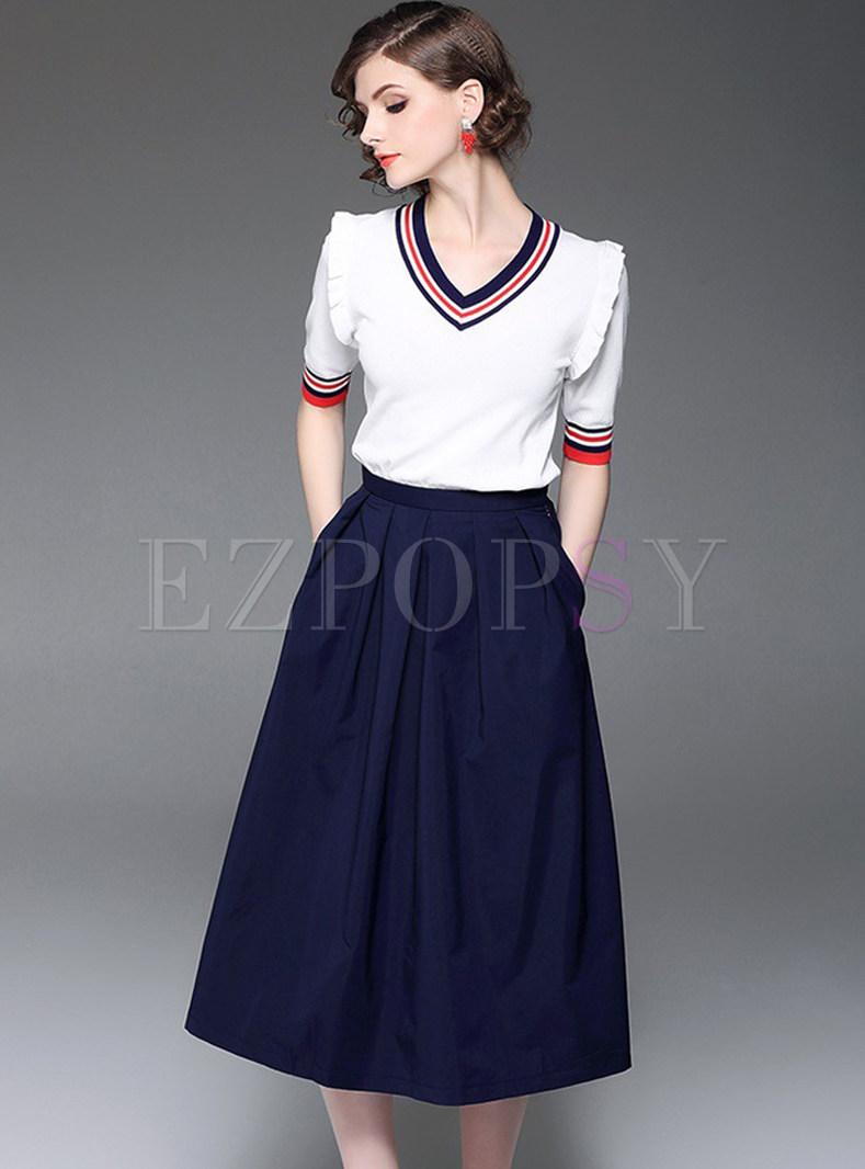 Short Sleeve V-neck Knitted T-shirt & Big Hem A-line Skirt