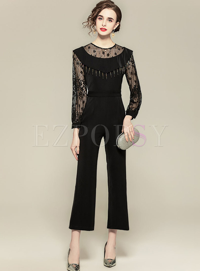 Black Transparent Mesh Lace Fringed Jumpsuits
