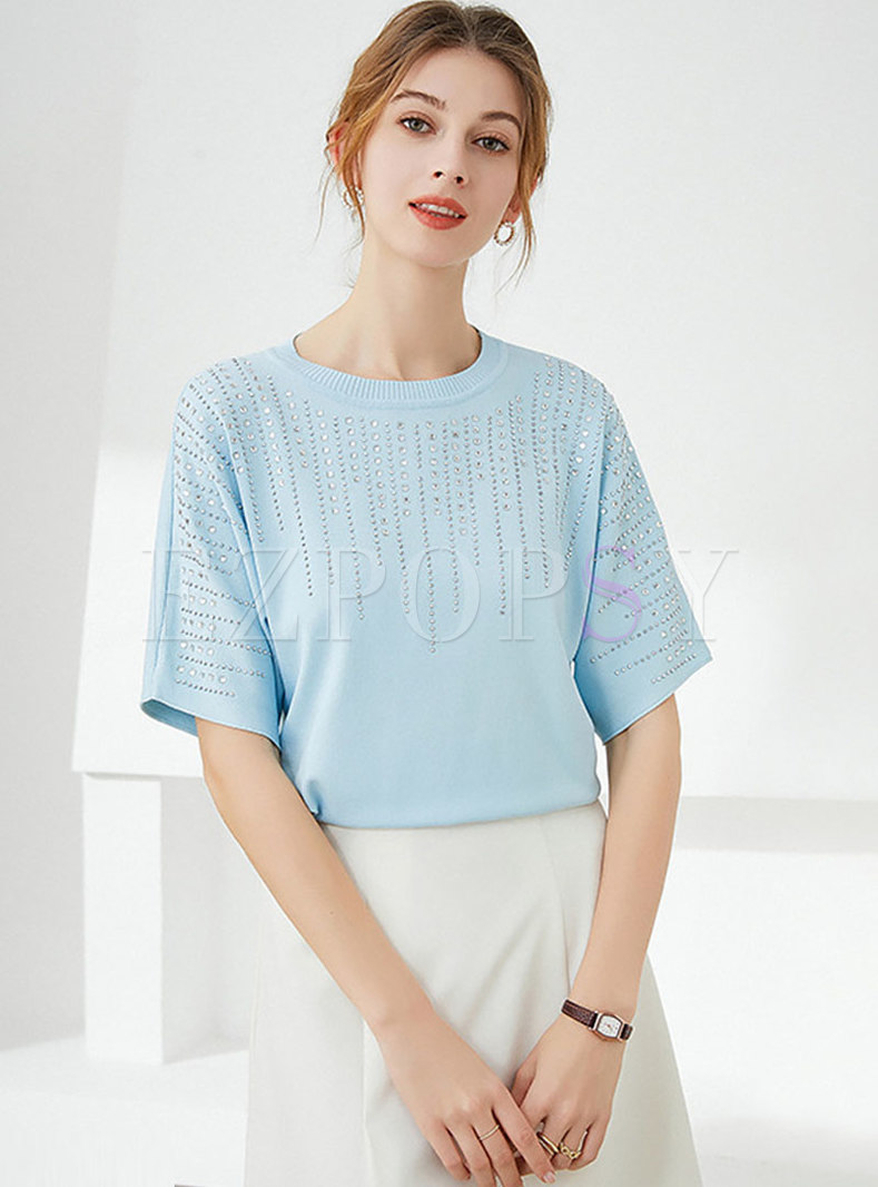 Short Sleeve Diamond Pullover Knit Top
