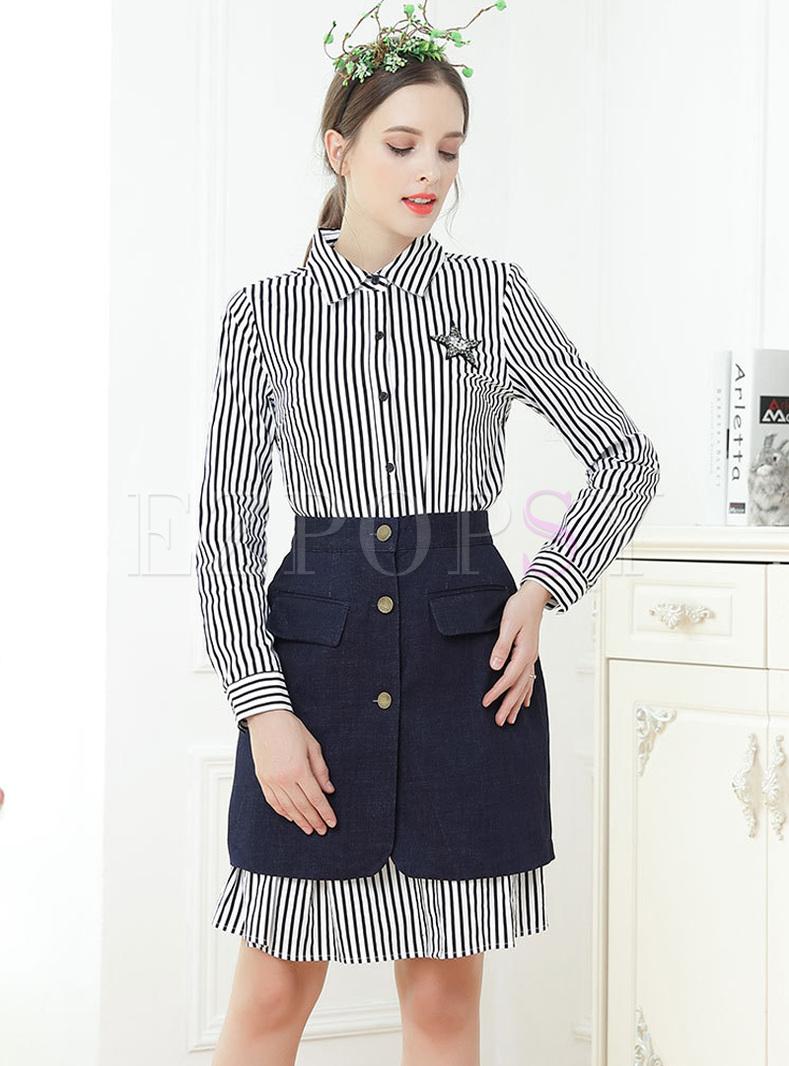 Striped Lapel Shirt Dress & Blue Slim Skirt