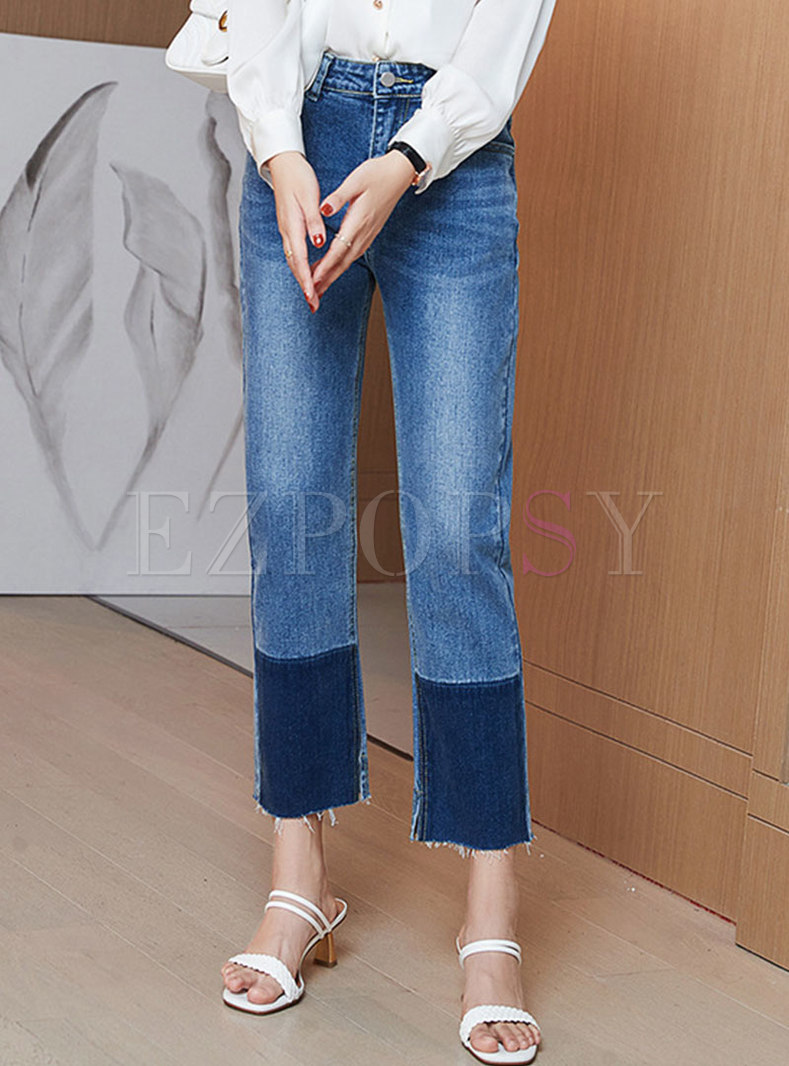 High Waisted Washed Fringed Straight Pants