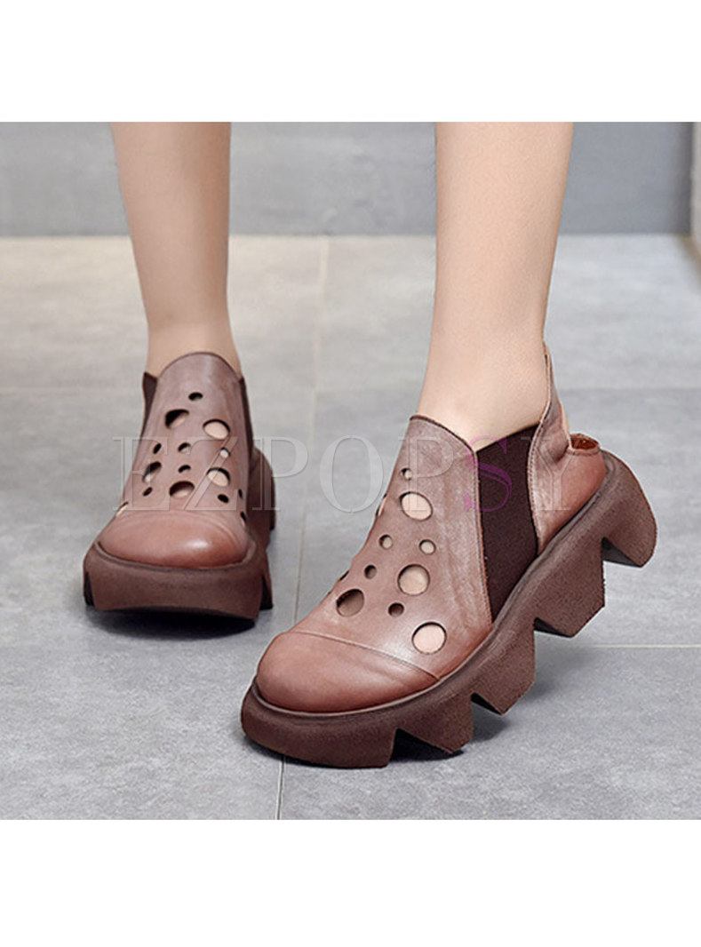 Rounded Toe Openwork Platform Non-slip Loafers